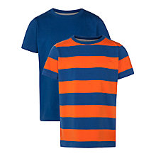 Buy John Lewis Boy Stripe & Plain T-Shirt, Pack of 2, Blue/Orange Online at johnlewis.com