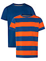 John Lewis Boy Stripe & Plain T-Shirt, Pack of 2, Blue/Orange