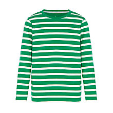 Buy John Lewis Boy Long Sleeve Breton Stripe T-Shirt, Green/White Online at johnlewis.com