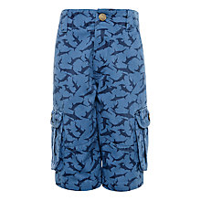 Buy John Lewis Boy Shark Print Combat Shorts, Navy Online at johnlewis.com