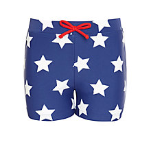 Buy John Lewis Boy Star Swimming Trunks, Blue/White Online at johnlewis.com