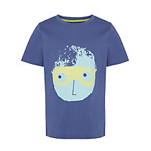 Buy John Lewis Boy Bexter Face Motif T-Shirt, Navy Online at johnlewis.com