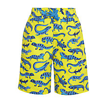 Buy John Lewis Boy Lizard Print Board Shorts, Yellow/Blue Online at johnlewis.com