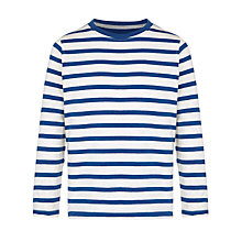 Buy John Lewis Boy Breton Stripe Long Sleeve T-Shirt, Blue/White Online at johnlewis.com