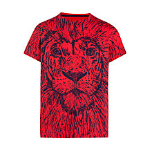 Buy John Lewis Boy Graphic Print Lion T-Shirt, Red Online at johnlewis.com
