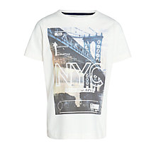 Buy John Lewis Boy Photographic NYC T-Shirt, Cream Online at johnlewis.com