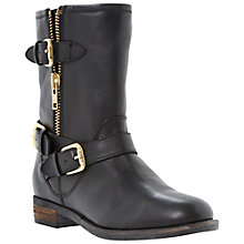 Buy Dune Robbin Buckle Detail Leather Boots, Black Online at johnlewis.com