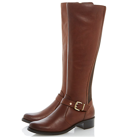 Buy Dune Tippler Leather Knee High Boots, Brown Online at johnlewis.com