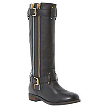 Buy Dune Traffik Leather Calf Boots, Black Online at johnlewis.com