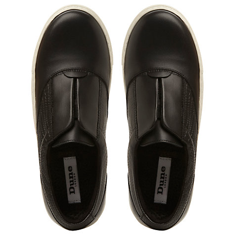 Buy Dune Lastic Leather Trainers, Black Online at johnlewis.com