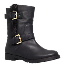Buy Miss KG Samson Leather Buckle and Faux Fur Trim Flat Heel Calf Boots, Black Online at johnlewis.com