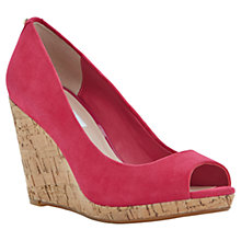 Buy Dune Celia Cork Wedge Peep Toe Leather Court Shoes Online at johnlewis.com