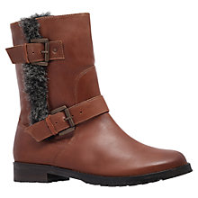 Buy Miss KG Samson Leather Buckle and Faux Fur Trim Flat Heel Calf Boots, Tan Online at johnlewis.com