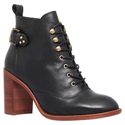 KG by Kurt Geiger Sweet Leather Mid Heel Ankle Boots, Black