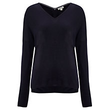 Buy Whistles Mimmi Silk Mix Boxy Top, Navy Online at johnlewis.com