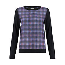 Buy Jigsaw Jewel Check Silk Front Sweater, Multi Online at johnlewis.com