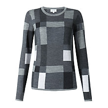 Buy Jigsaw Graphic Block Check Intarsia Jumper, Grey Online at johnlewis.com
