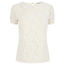Buy Oasis Collar Lace T-Shirt, Off White Online at johnlewis.com