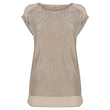 Buy Oasis Crinkle Foil T-Shirt, Gold Online at johnlewis.com