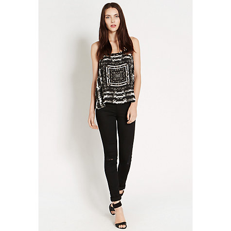 Buy Oasis Scarf Placement Print Cami, Black/White Online at johnlewis.com