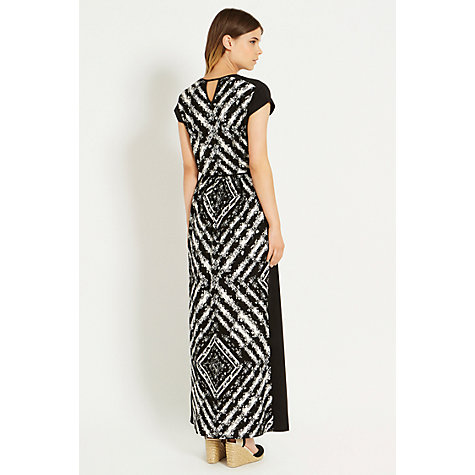 Buy Oasis Placement Print Maxi Dress, Black/White Online at johnlewis.com