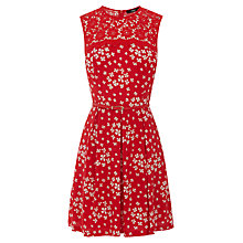 Buy Oasis Scattered Clover Dress, Mid Red Online at johnlewis.com