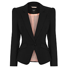 Buy Oasis Gina Pleat Shoulder Jacket, Black Online at johnlewis.com