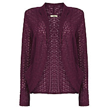 Buy Oasis Lace Drape Cardigan, Mid Purple Online at johnlewis.com