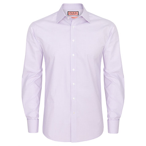 Buy Thomas Pink Salzburg Check Double Cuff Shirt, Lilac/White Online at johnlewis.com