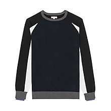 Buy Reiss Cameron Panel Colour Jumper, Navy Online at johnlewis.com