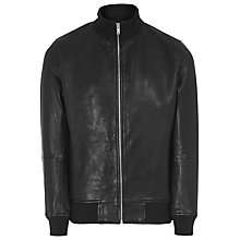Buy Reiss Knowles Leather Bomber Jacket, Black Online at johnlewis.com