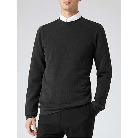 Buy Reiss Ives Quilted Jumper, Grey Online at johnlewis.com