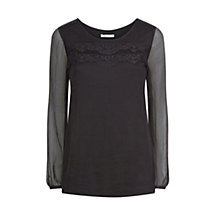 Buy Kaliko Silk Lace Panel Blouse, Black Online at johnlewis.com
