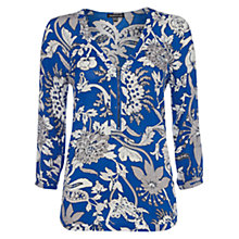 Buy Warehouse Lotus Floral Zip Blouse, Blue Pattern Online at johnlewis.com