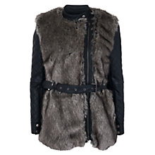 Buy French Connection Alexia Long Sleeve Furry Jacket, Carbon/Black Online at johnlewis.com