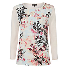 Buy Warehouse Hazy Leaf Woven Jumper, Light Pink Online at johnlewis.com