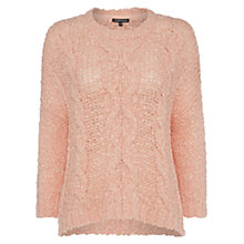 Buy Warehouse Cable Mesh Jumper, Light Pink Online at johnlewis.com