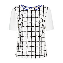 Buy Planet Check Blouse, Ivory/Black Online at johnlewis.com
