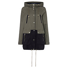 Buy Warehouse Hooded Colour Block Parka, Green/Black Online at johnlewis.com
