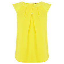 Buy Warehouse Jacquard Notch Neck Top, Yellow Online at johnlewis.com