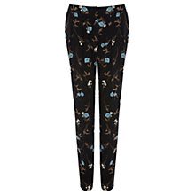 Buy Warehouse Vintage Floral Peg Trousers, Black Online at johnlewis.com