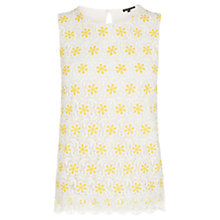 Buy Warehouse Daisy Lace Shell Top, Yellow Online at johnlewis.com