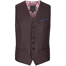Buy Ted Baker Hordwai Wool Check Waistcoat, Dark Red Online at johnlewis.com