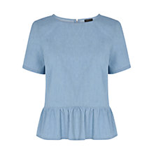 Buy Warehouse Peplum Denim T-Shirt, Light Blue Online at johnlewis.com
