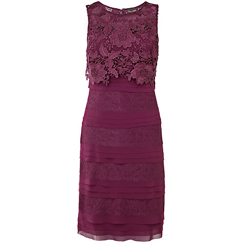 Buy Phase Eight Carlotta Layered Dress, Damson Online at johnlewis.com