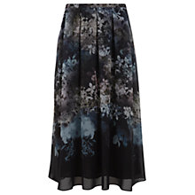Buy Mint Velvet Ami Print Midi Skirt, Black Online at johnlewis.com