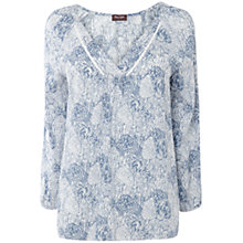 Buy Phase Eight Paige Print Blouse, Grey/Ivory Online at johnlewis.com