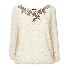 Buy Phase Eight Ness Embroidered Blouse, Ivory Online at johnlewis.com