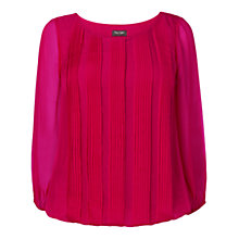 Buy Phase Eight Eliza Pleat Silk Blouse, Raspberry Online at johnlewis.com