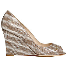 Buy L.K. Bennett Erica Leather Peep Toe Tejus Wedges Online at johnlewis.com